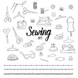 Sewing set with hand drawn elements Royalty Free Stock Images