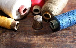 Sewing Set On Wood Stock Photography