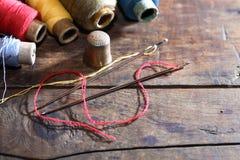 Sewing Set On Wood Stock Photo
