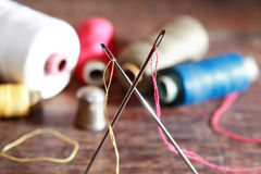Sewing Set On Wood Stock Photos