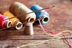 Sewing Set On Wood Royalty Free Stock Image