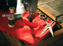 Sewing. Sewing machine and tools. Stock Photos