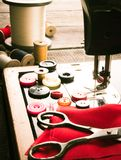 Sewing. Sewing machine and tools. Royalty Free Stock Image