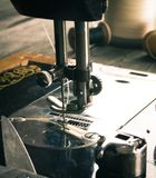 Sewing. Sewing machine and tools. Royalty Free Stock Photography