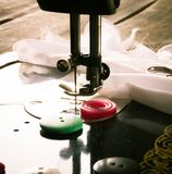 Sewing. Sewing machine and tools. Stock Photo