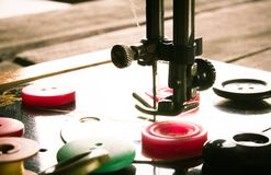 Sewing. Sewing machine and tools. Stock Images