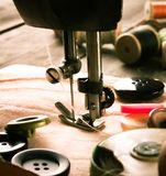 Sewing. Sewing machine and tools. Royalty Free Stock Images