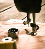 Sewing. Sewing machine and tools. Stock Image
