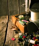 Sewing. Sewing machine and tools. Royalty Free Stock Photos