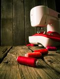 Sewing. Sewing machine and tools. Royalty Free Stock Photo