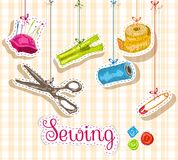 Sewing sketch composition Royalty Free Stock Images