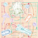 Sewing sketch seamless pattern Royalty Free Stock Images