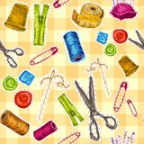 Sewing sketch seamless pattern Royalty Free Stock Photos