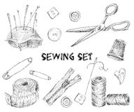 Sewing sketch set Royalty Free Stock Image