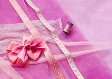 Sewing something pink Royalty Free Stock Photos
