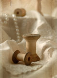 Sewing Spool. Empty wood spool for thread Royalty Free Stock Photos
