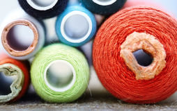 Sewing spools close-up Stock Photo