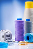 Sewing Spools With Threads And Other Items Stock Photography