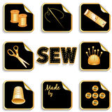 Sewing Stickers, Gold and Black. Gold stickers for sewing, tailoring, dressmaking, needlework, handmade, homemade and do it yourself projects: needle, thread Stock Image