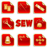 Sewing Stickers, Gold and Red Stock Photo