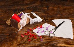 Sewing still life on table Stock Photo
