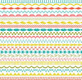 Sewing stitch borders. Sewing stitch border patterns stripes Stock Illustration