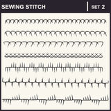 0116_2 sewing stitch. Collection of vector illustration sewing stitch patterns Royalty Free Stock Photos