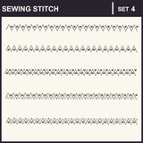 0116_4 sewing stitch. Collection of vector illustration sewing stitch patterns Stock Images