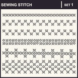0116_1 sewing stitch. Collection of vector illustration sewing stitch patterns Royalty Free Stock Images