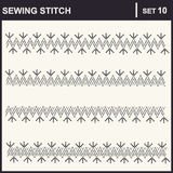0116_37 sewing stitch. Collection of vector illustration sewing stitch patterns Stock Image