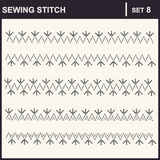 0116_35 sewing stitch. Collection of vector illustration sewing stitch patterns Royalty Free Stock Photo