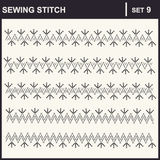 0116_36 sewing stitch. Collection of vector illustration sewing stitch patterns Royalty Free Illustration