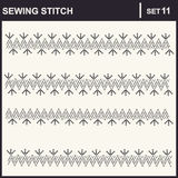 0116_38 sewing stitch. Collection of vector illustration sewing stitch patterns Vector Illustration
