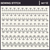 0216_17 sewing stitch. Collection of vector illustration sewing stitch patterns Royalty Free Stock Images