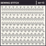 0216_18 sewing stitch. Collection of vector illustration sewing stitch patterns Stock Photo