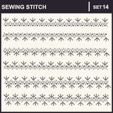 0216_19 sewing stitch. Collection of vector illustration sewing stitch patterns Stock Photography