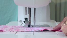Sewing Strips of Fabric for Patchwork stock video