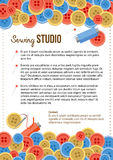Sewing studio poster template with buttons and sewing items stock illustration