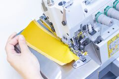 Free Sewing Studio. Seamstress Patch Fabric. Overlock Stitch. Overlock For Sewing Fabric Royalty Free Stock Images - 171717509