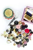 Sewing stuff buttons nails thread scissors Stock Image