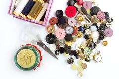 Sewing stuff buttons nails thread scissors Royalty Free Stock Photos