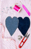 Sewing stuff on fabric pattern Stock Images