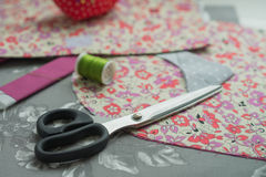 Sewing stuff - scissors, fabrics Stock Photo