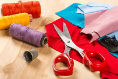 Sewing. Stuff, thread for , scissors, thimble stock photos
