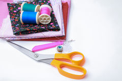 Sewing stuff on white background Stock Photo