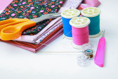 Sewing stuff on white background Stock Photos
