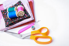 Sewing stuff on white background Stock Image