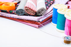 Sewing stuff on white background Royalty Free Stock Image