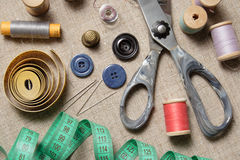 Sewing supplies royalty free stock photography