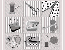 Sewing supplies. Tems for sewing, zip, etc. Vector illustration Royalty Free Stock Image